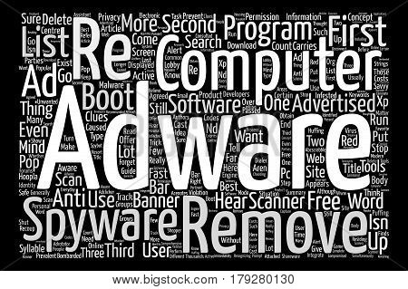 Want to delete adware fast text background word cloud concept