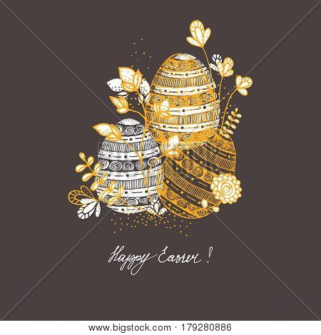 Happy easter Greeting Card. Hand drawn stylish Easter eggs.