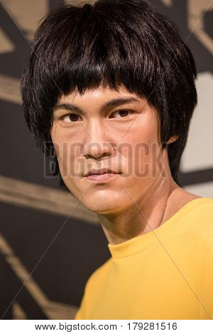 Bangkok - Jan 29: A Waxwork Of Bruce Lee On Display At Madame Tussauds On January 29, 2016 In Bangko