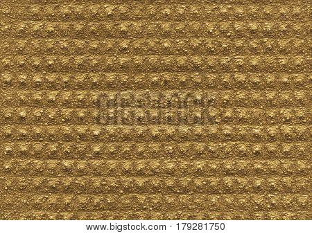 Gold ochre texture of the porous relief material is close-up. Abstract wall surface background for design