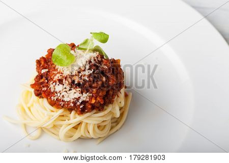 spaghetti with sauce bolognese on a plate