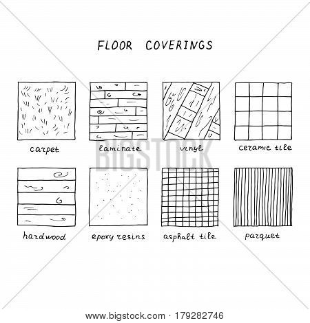 Hand drawn floor coverings. Carpet laminate vinyl ceramic tile hardwood epoxy resins asphalt tile parquet.