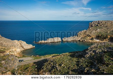 Scenic Landscape With A Beach At Lindos, Rodos