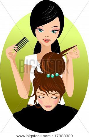 Stock hairdresser combing customer. Pretty young Barber. poster