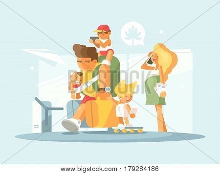 Young family at airport. Father with small children and luggage. Pregnant mother speaks by phone. Vector illustation