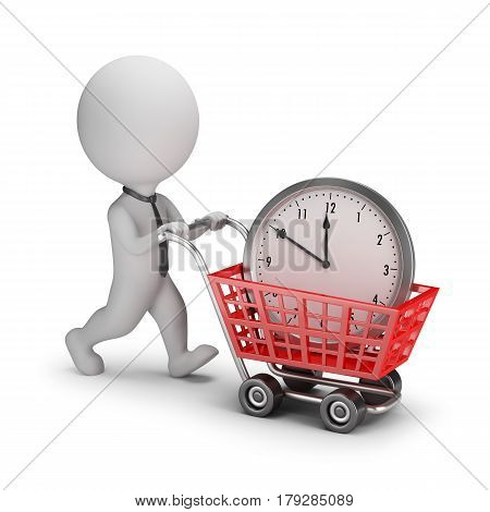3d small businessman bought time. 3d image. White background.