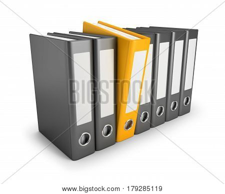 Yellow folder released in a number of conventional folders. 3d image. Isolated white background.