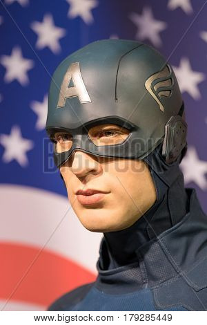BANGKOK -JAN 29 : A waxwork of Captain America on display at Madame Tussauds on January 29 2016 in Bangkok Thailand. Madame Tussauds' newest branch hosts waxworks of numerous stars and celebrities