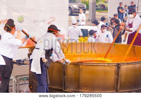 Quito, Ecuador - March 5, 2017: Locro Fest event, where around 250 volunteers got together to prepare the biggest locro soup weighing 12 760 pounds and achieved a Guinness World Record.