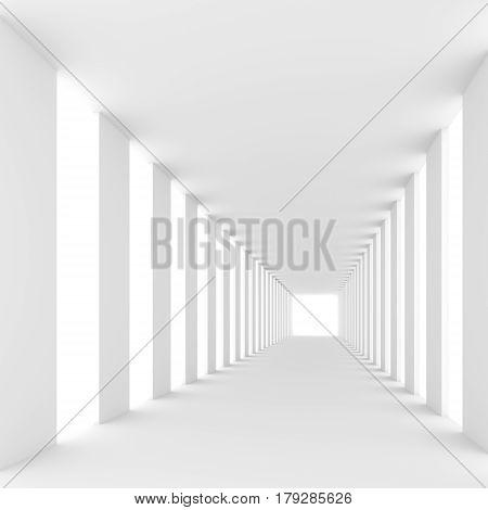 Bright light passes near the square columns in the futuristic empty white corridors. Abstract architectural interior of the future. 3D rendering.