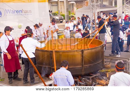 Quito, Ecuador - March 5, 2017: Locro Fest, an event where the biggest locro soup weighing 12 760 pounds is prepared and served to obtain a Guinness world record.