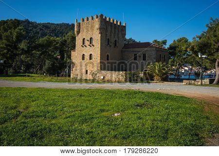 Medieval Castle In Greek Peninsula Of Peloponnesus, Greece
