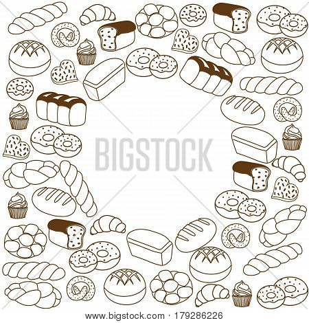Collection of bakery products on a white background. Handwritten sketch brush. The place for the text.