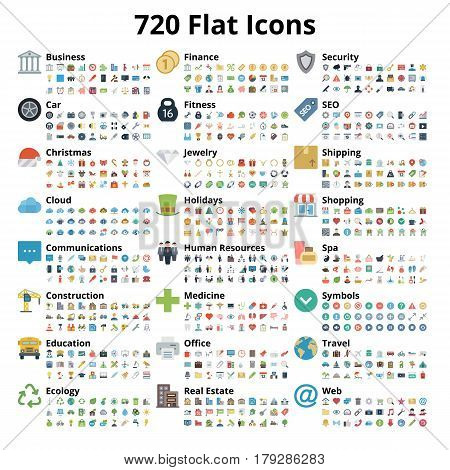 720 flat icons set. Vector illustration. Android. IOS.