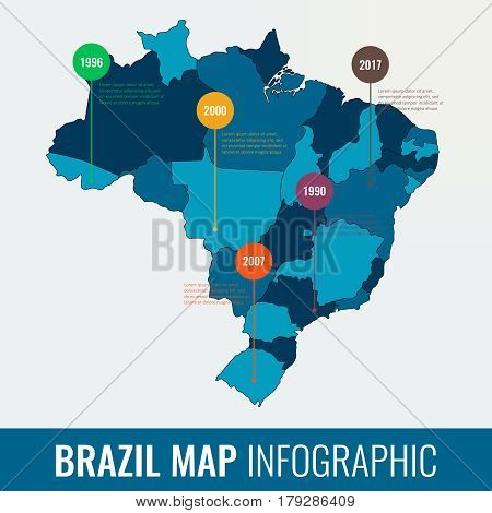 Brazil map infographic template. All regions are selectable. Vector illustration