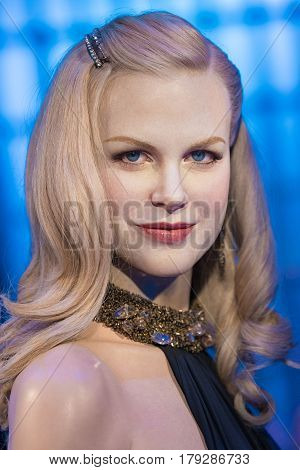 BANGKOK-JAN 29: A waxwork of Nicole Mary Kidman on display at Madame Tussauds on January 29 2016 in BangkokThailand. Madame Tussauds' newest branch hosts waxworks of numerous stars and celebrities