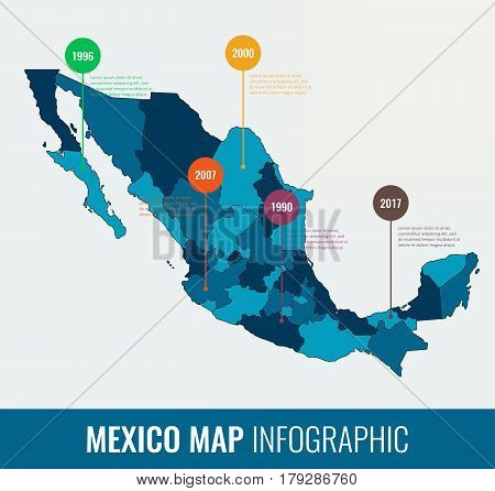 Mexico map infographic template. All regions are selectable. Vector illustration