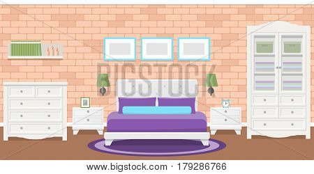 Bedroom interior. Vector room flat design with furniture and house equipment. Background with brick wall and carpet.