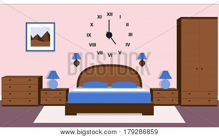 Bedroom interior. Vector room design with furniture and house equipment. Background in flat style.