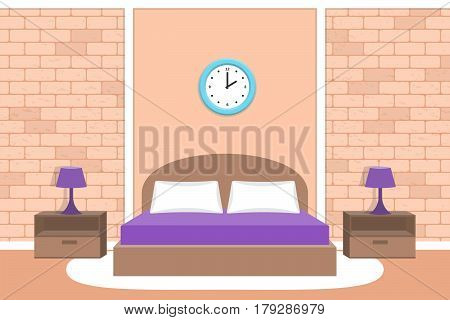 Bedroom interior. Vector room. House design with bed furniture. Background in flat style with brick wall.