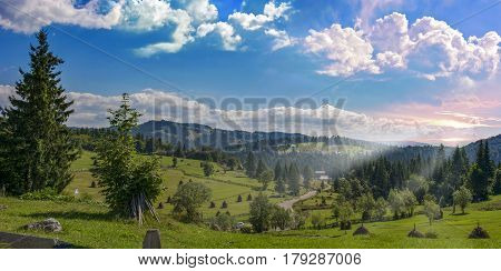Sunrise over Carpathian Mountains at Scarisoara , Romania