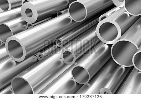 Many Different Steel Pipes, Industrial Background
