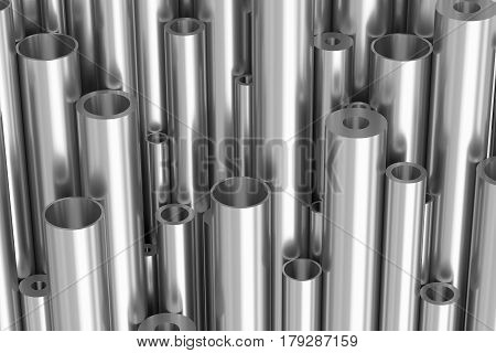 Many Different Steel Pipes Industrial Background