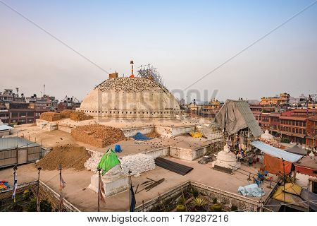 Kathmandu,nepal- Dec18, 2015: Boudhanath Stupa Structural Damages After The 7.8 Earthquake Hit Nepal