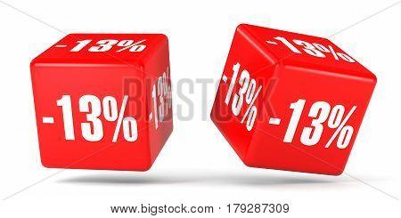 Thirteen Percent Off. Discount 13 %. Red Cubes.