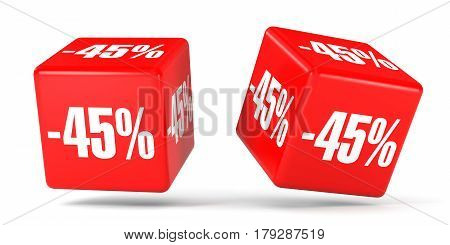 Forty Five Percent Off. Discount 45 %. Red Cubes.