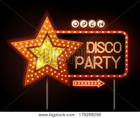 Neon sign of disco star and neon text disco party