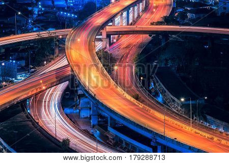 Motorway Expressway Freeway the infrastructure for transportation in modern city urban view at night time
