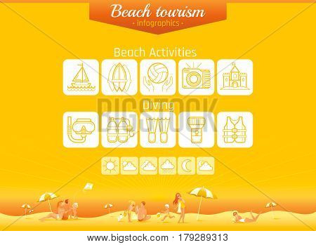 Summer beach travel icon set infographics banner. Happy family sea vacation icons background. People traveling - tourism, weather, diving, surfing, ship sailing, sun, flippers, vector illustration
