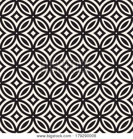 Vector Seamless Black And White Geometric Rounded Lines Pattern. Abstract Geometric Background Design