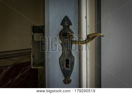 The Old Vintage Door Handle And Keyhole