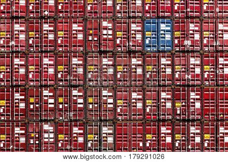 Colorful stack pattern of cargo shipping containers in shipping yard for importexport industrial