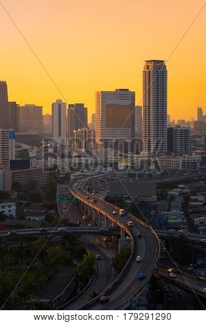 Modern Office Buildings, Condominium In Big City Downtown With Motorway, Expressway, Freeway The Inf
