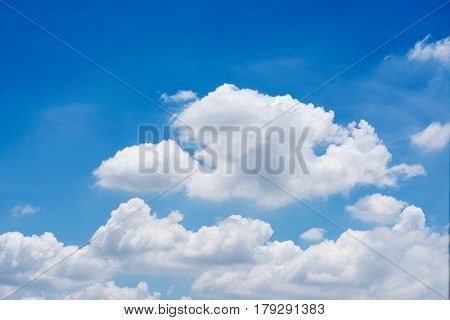 Nature white cloud on blue sky background in daytime, photo of nature cloud for freedom and nature concept
