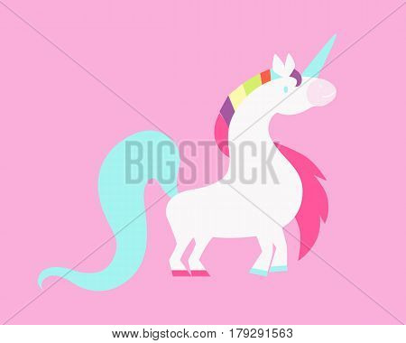 White unicorn on a pink background with a rainbow mane. Vector illustration