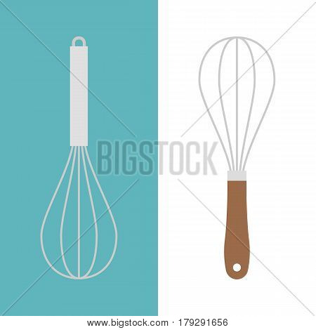 stainless and wooden egg whisk icon, flat design vector