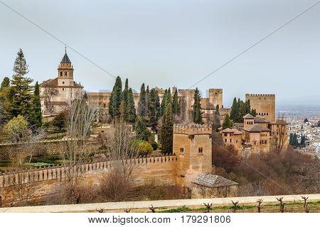 View of Alhambra from Generalife gardens Granada Spain