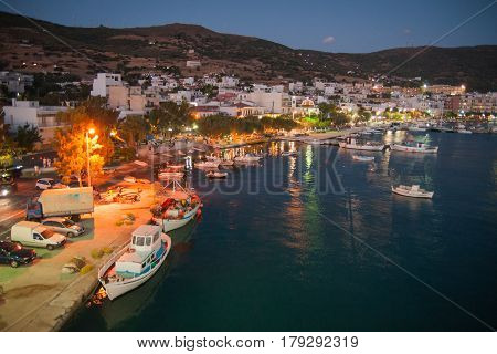 Nightscape of Marmary city and port, Evbia island, Greece