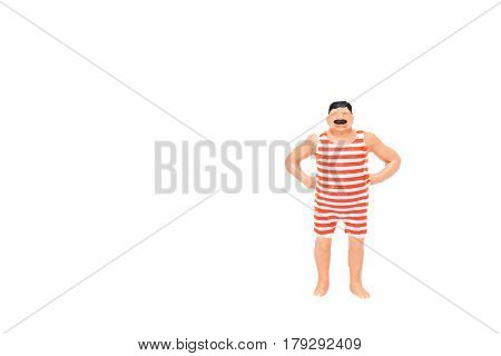 Close Up Of Miniature Fat People Isolate On White Background. Elegant Design With Copy Space For Pla