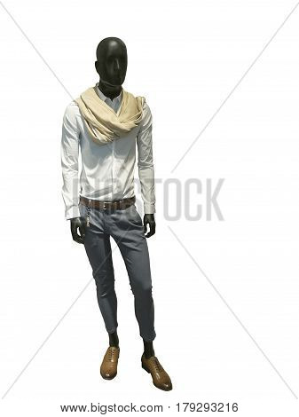 Full length male mannequin dressed in fashionable clothes isolated on white background. No brand names or copyright objects.