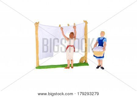 Close Up Of Miniature People Isolate On White Background. Elegant Design With Copy Space For Placeme