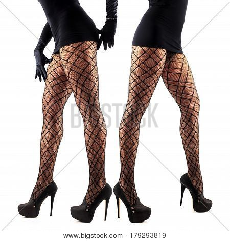 Sexy female legs in beautiful stylish stockings and high heels shoes black gloves and dress isolated on white background collage of two models