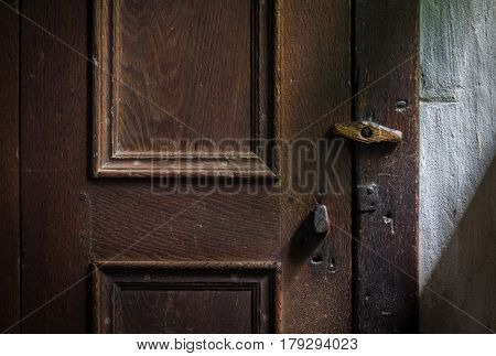 The Wooden Latch On A Wooden Door