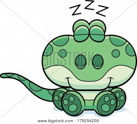 Cartoon Gecko Napping