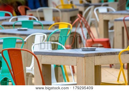 Colorful Terrace At Cafe