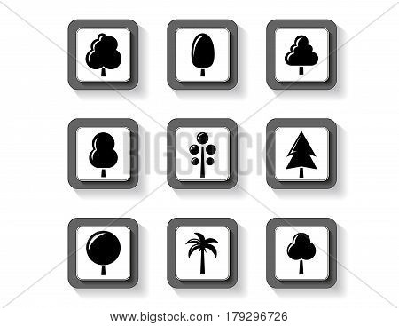 isolated trees on black buttons set for garden or landscaping industry
